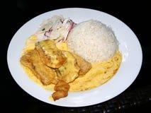 Rybi przepasuje z kremowym kumberlandem Gotowanych ryż i palmowego serca sałatkowy garnirunek zdjęcie royalty free