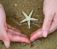 rybi ręki piaska gwiazdy biel fotografia stock