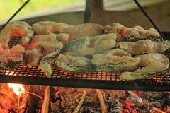 Rybi stki na grillu Zdjęcia Stock