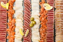 Rybi talerz z rozmaitością differnet rybi plasterki Obrazy Stock