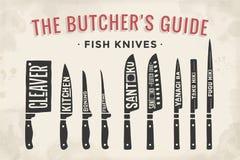 rybi tnący noże ustawiający Plakatowy masarka diagram, plan i Zdjęcie Stock