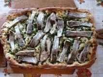 Rybi tort z ziele i jajkami Zdjęcia Royalty Free