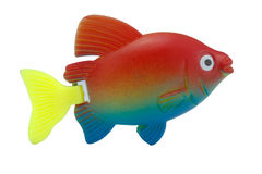 Rybi zabawkarski plastikowy kolorowy na odosobnionym Zdjęcia Royalty Free