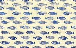 Rybia bezszwowa deseniowa tapeta Fotografia Stock