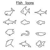 Rybia ikona ustawiająca w cienkim kreskowym stylu ilustracji