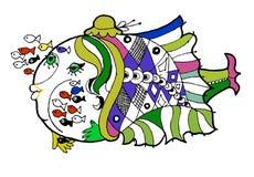 Rybia pepiniera, kolorystyki książka, śmieszna kreskówki ryba Zdjęcia Royalty Free