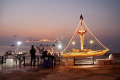 Rybia restauracja na plażowym ko Tao Thailand Fotografia Royalty Free