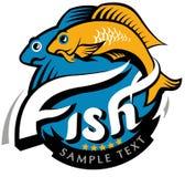 Rybia rocznik ikona. graficzna dennego jedzenia ilustracja Fotografia Stock