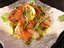 Rybia sałatka mieszał w Japońskim stylu, Japoński jedzenie, Japonia Obraz Stock
