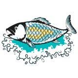 Rybia sylwetka na fali ilustracji