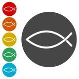 Rybie Abstrakcjonistyczne ikony ustawiać ilustracja wektor