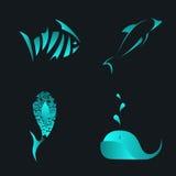 Rybiego abstrakta loga barwiony szablon Denny wektorowy projekta element ilustracji