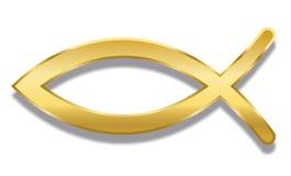 Rybiego Chrześcijańskiego symbolu Ichthys Złoty styl royalty ilustracja