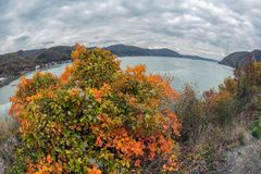 Rybiego oka widoku wiyh jesień przy Danube wąwozami Fotografia Royalty Free