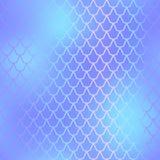 Rybiej skóry bezszwowy wzór Syrenki szalkowy tło Błękitny fishscale ilustracja wektor