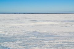 Rybinsk rezerwuar na jasnym zima dniu Obraz Royalty Free