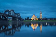 Rybinsk, Russia. Cathedral and bridge reflecting in Volga river stock images
