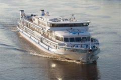 The cruise motor ship `Sergey Yesenin` on the Volga River close up. RYBINSK, RUSSIA - JULY 16, 2017: The cruise motor ship `Sergey Yesenin` on the Volga River Royalty Free Stock Photo