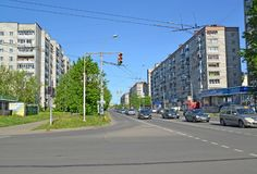 RYBINSK, RUSSIA. A view of Plekhanov Street with the residential development of the 1970th years royalty free stock photo