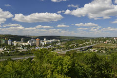 Rybnitsa-Stadt in Transnistrien, am linken Ufer des Dnister-Flusses Lizenzfreie Stockfotos
