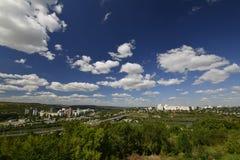 Rybnitsa-Stadt in Transnistrien, am linken Ufer des Dnister-Flusses Stockbilder