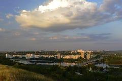 Rybnitsa-Stadt in Transnistrien, am linken Ufer des Dnister-Flusses Lizenzfreies Stockfoto