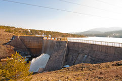 Rybniza Jezero Dam. With streaming water from gate Stock Photos