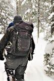 Rybołowa daypack w zimy burzy obraz stock