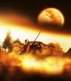 Rycerz Iść dla ono Potyka się przy nocą ilustracji