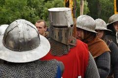 Rycerz w ciężkim hełmie. Zdjęcie Royalty Free