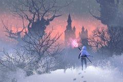 Rycerz z trójzębem w zima krajobrazie ilustracja wektor
