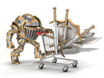 Rycerz z wózek na zakupy Obraz Stock