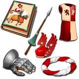 Rycerza ` s ustawia - rezerwuje, ręka w zbroi, królewska suknia, kordzik i inny wizerunek, Sześć ikon odizolowywających Wektor w  ilustracji
