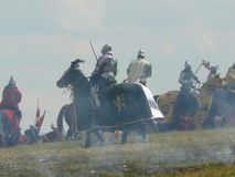 Rycerze na odbudowie bitwa Grunwald Zdjęcia Stock