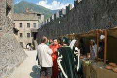 Rycerze w akci podczas rocznego Renesansowego festiwalu Obrazy Stock