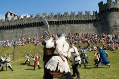 Rycerze w akci podczas rocznego Renesansowego festiwalu Zdjęcia Stock