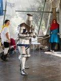 Rycerze w pierścionku przygotowywali odpędzać ataka przy festiwalu ` rycerzami Jerozolimski ` w Jerozolima, Izrael Obrazy Stock