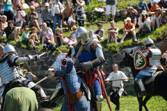 Rycerze walczy na horseback Obraz Stock