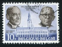 Ryckmans and Cerfaux. RUSSIA KALININGRAD, 19 OCTOBER 2015: stamp printed by Belgium, shows Library, Louvain University, Ryckmans and Cerfaux, circa 1975 Stock Photography