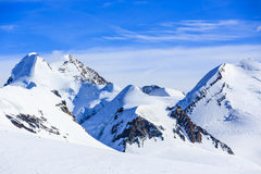 Rycynowy, Pollux, Roccia Nera i skłonie Breithorn, nad Gor zdjęcie stock