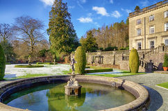 Rydal Hall and ornamental fountain on a frosty Royalty Free Stock Image