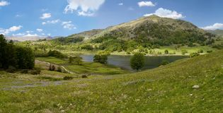 By Rydal Water, widescreen Royalty Free Stock Images