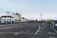 Ryde esplanade and seafront buildings and hotels. Ryde, Isle of Wight, looking along the seafront and esplanade on a quiet Sunday morning, around sunrise Royalty Free Stock Image