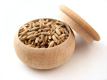 Rye. In wooden pot over white Stock Photos