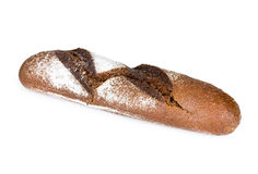 Rye baguette isolated on white Royalty Free Stock Photography