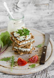 Rye biscuit with cheese, cucumber and cilantro Royalty Free Stock Photography