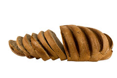 Rye bread. The whole loaf of rye bread close up on white background Stock Photos