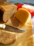 Rye bread. Preparation of sandwiches from rye bread Royalty Free Stock Photography