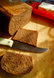 Rye bread. Preparation of sandwiches from rye bread Stock Photos