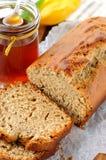 Rye bread. With banana and honey Stock Photos